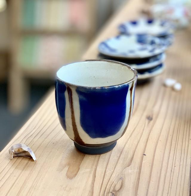 『ノモ陶器製作所』鉢5寸緑イッチン 花小