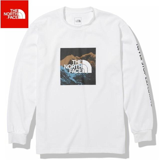 ノースフェイス ロンT 長袖 Tシャツ メンズ THE NORTH FACE ロングスリーブデジタルロゴティー NT82137 ホワイト