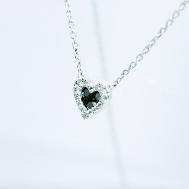 ブラックダイヤモンド ハートペンダント K18ホワイトゴールド