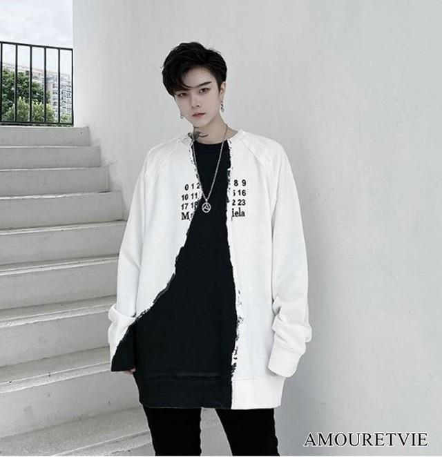 トレーナー スウェット アシンメトリー メンズ モノトーン バイカラー カジュアル ストリート オルチャン 韓国ファッション 1611