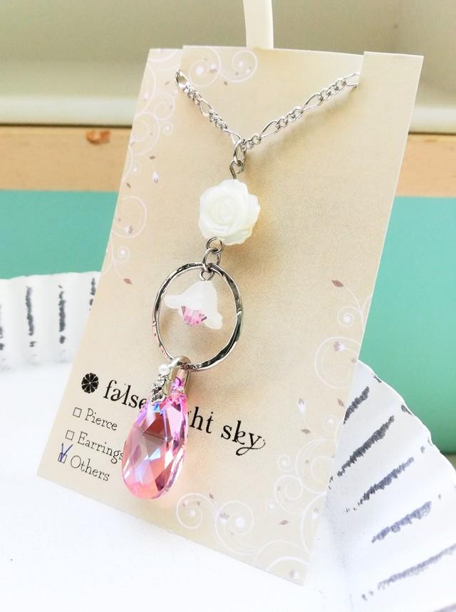 白薔薇スワロのネックレス[283-28]