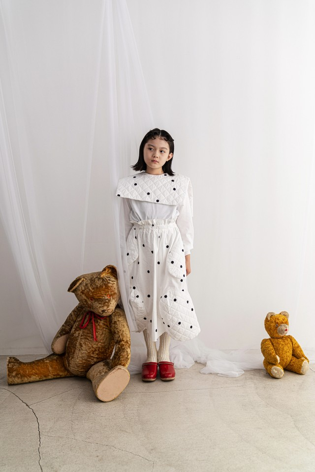 【21AW】フランキーグロウ ( frankygrow )REMOVABLE QUILTING SAILOR COLLAR L/S TEE[ S / M / L ]white-white*black dots collarトップス ロンT