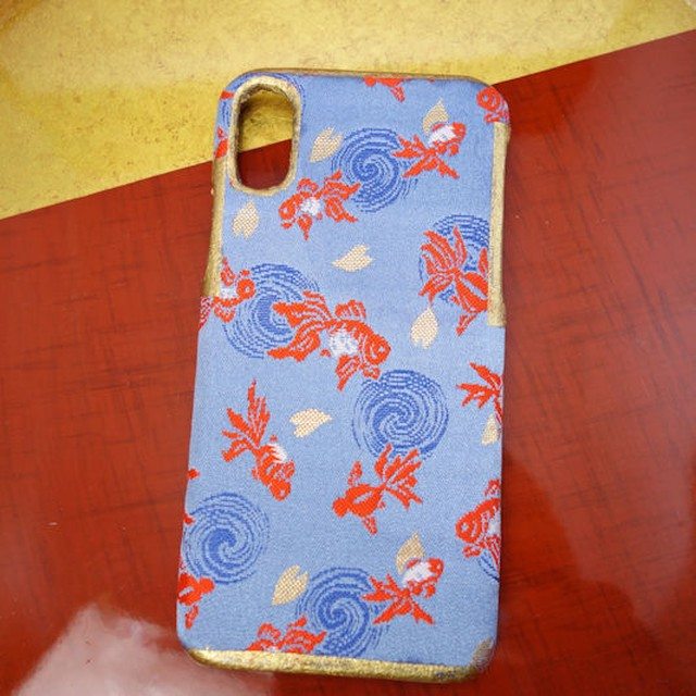 西陣織スマホケース/金魚【対応機種:iphoneX】