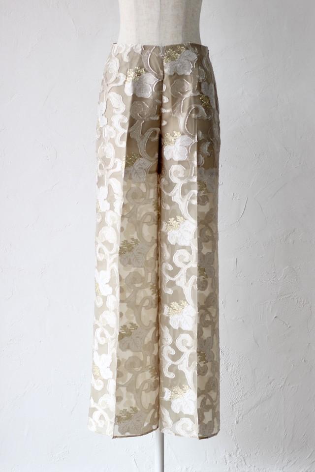 【EBONY】flower cut jacquard pants