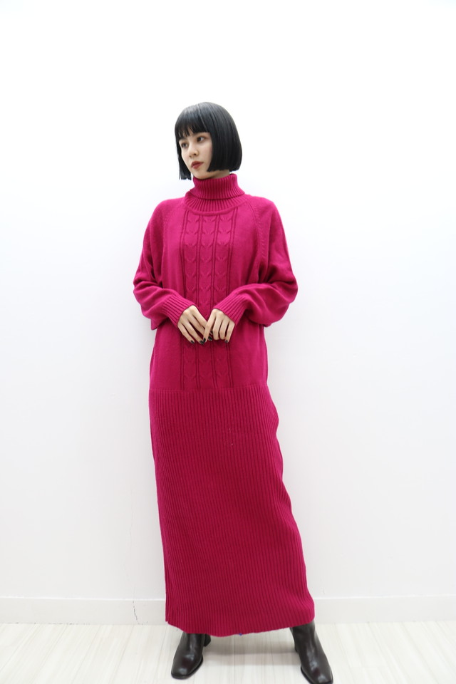 turtleneck knit one-piece / OP11190016