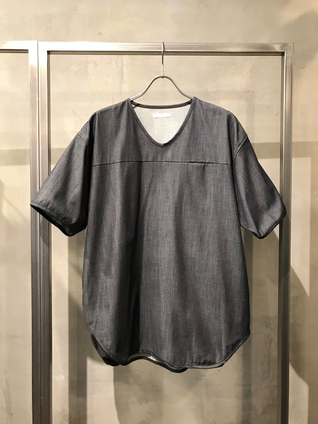T/f 6oz denim football T-shirt - indigo gray