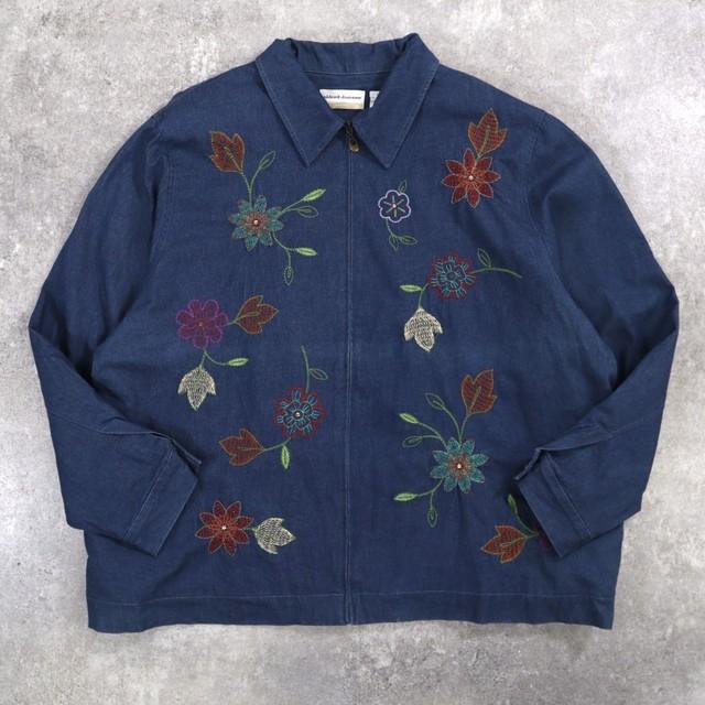 Flower embroidery denim jacket