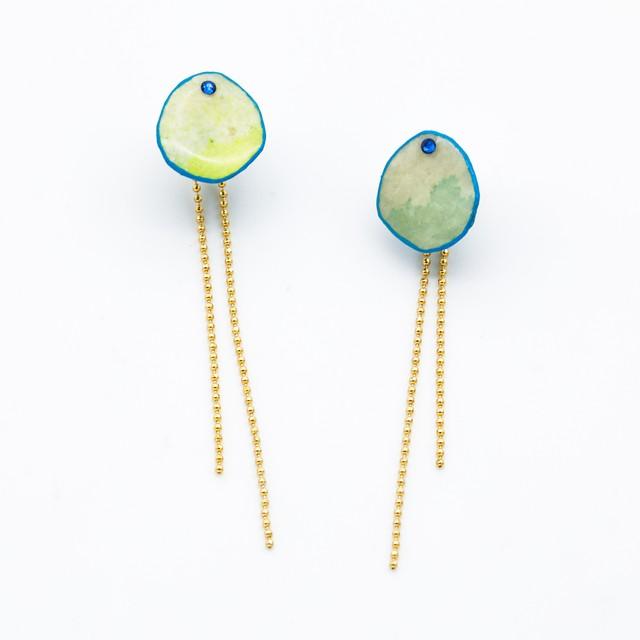 """Colorful"" japanesepaper pierced earrings  ◼︎blue yellow"
