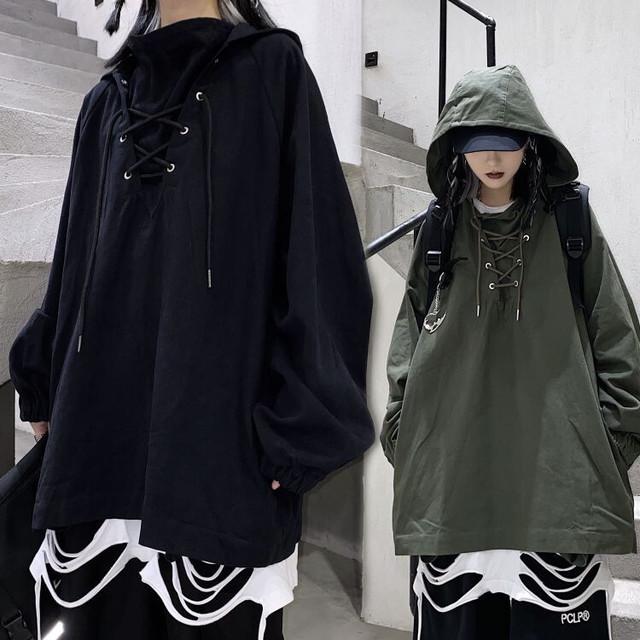 ユニセックス パーカー レースアップ メンズ レディース 編み上げ 長袖 オーバーサイズ 大きめ ルーズ カジュアル ストリート ファッション / Retro hip hop drawstring hooded jacket (DTC-625912190166)