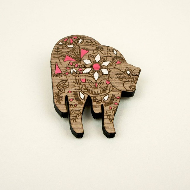 Walnut Brooch - Sun Bear
