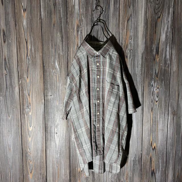 [used]cute check big shirt