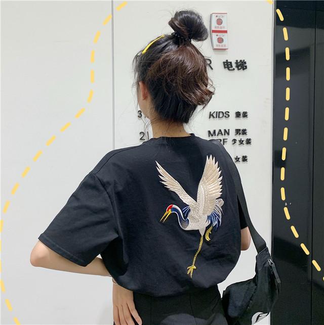 レトロ刺繍バードロゴTシャツ