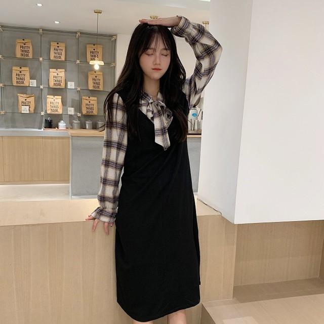 【dress】学園風長袖着痩せ清新配色切り替えチェック柄デザイン感ワンピース
