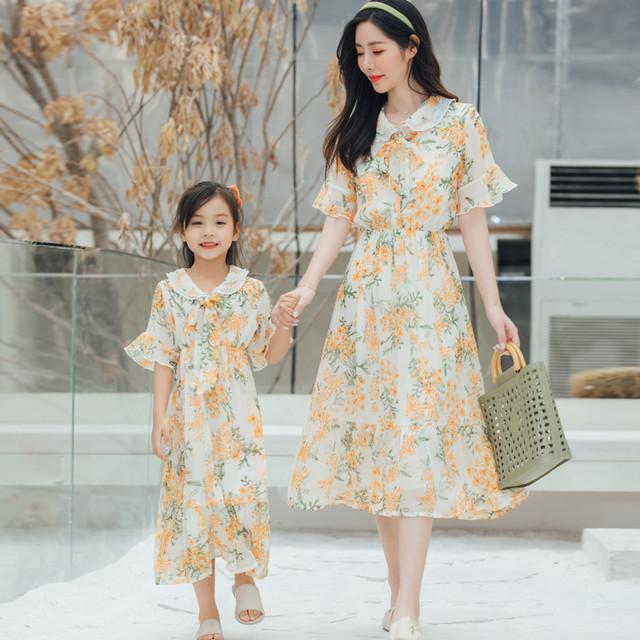 親子ドレス、母とのドレス、21夏のファッションのeignスタイル、蓮の葉の袖、シフォンドレス サマー 夏物 云云朵朵婴童店 云云朵朵婴童店57055358584