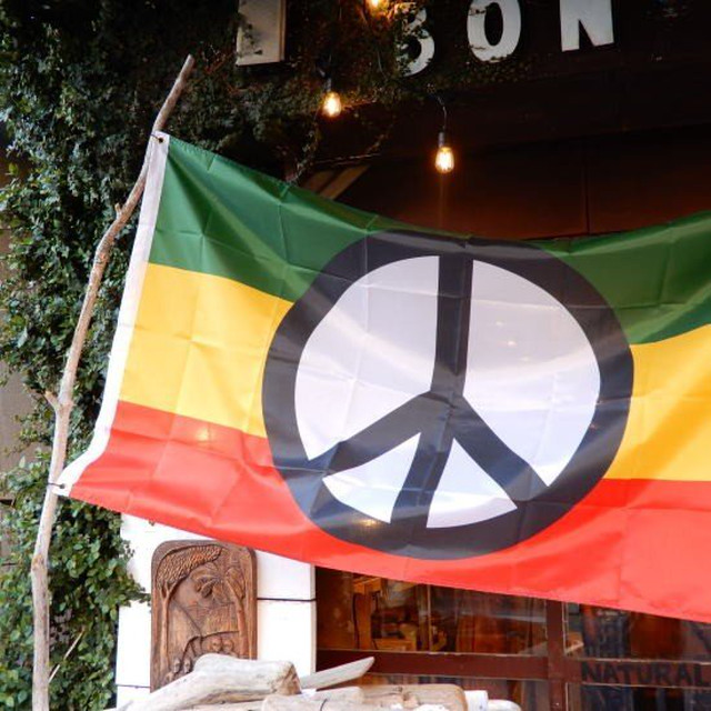 TOPANGA INTERIOR Shop Sign Flag/Peace Symbol Flag