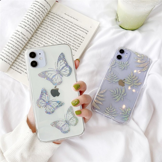Glitter leaf butterfly iphone case