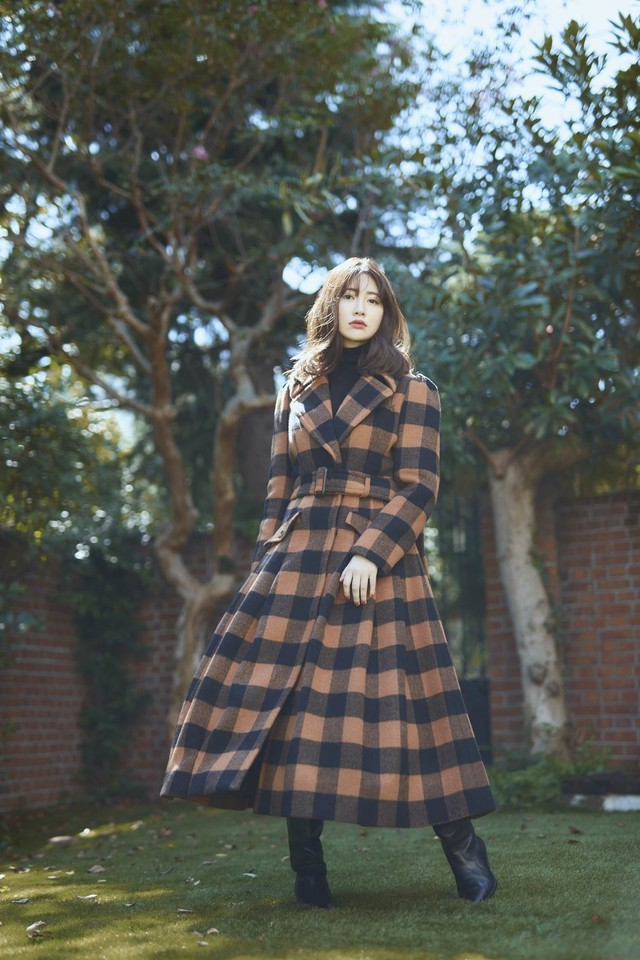 Belted Checked Wool-Blend Coat