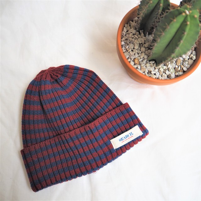 SEARCH. Knit Cap 《WINE&NAVY》