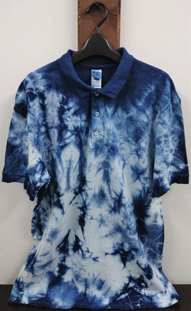 藍染めポロシャツ2XL