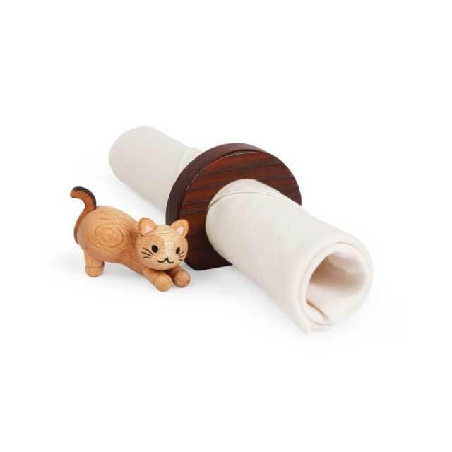 木製 猫のナプキンリング B