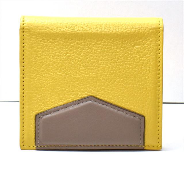 カーフレザー 二つ折財布 イエロー K-sセレクト
