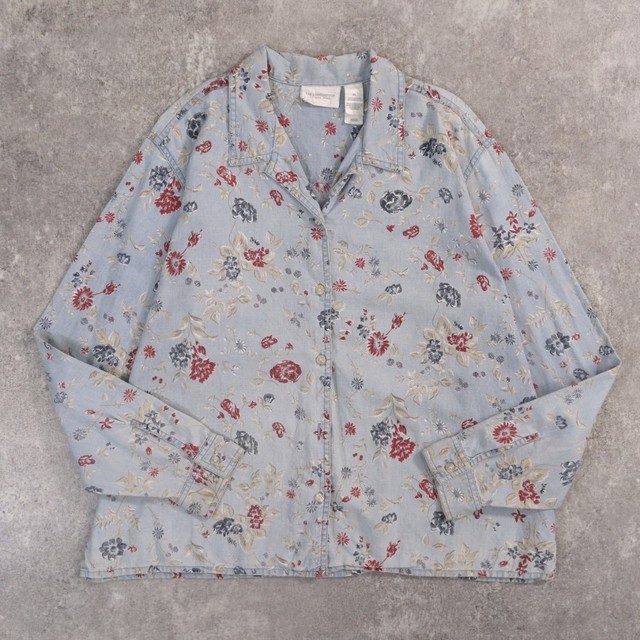 Flower art design denim shirt