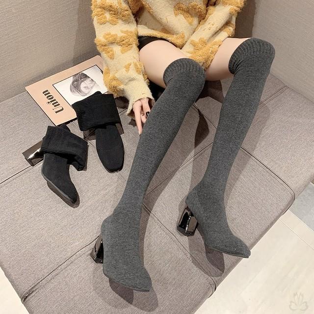 ✩脚長効果✩ニーハイブーツ ハイヒール ロングブーツ   痩せ 美脚 SHS532201
