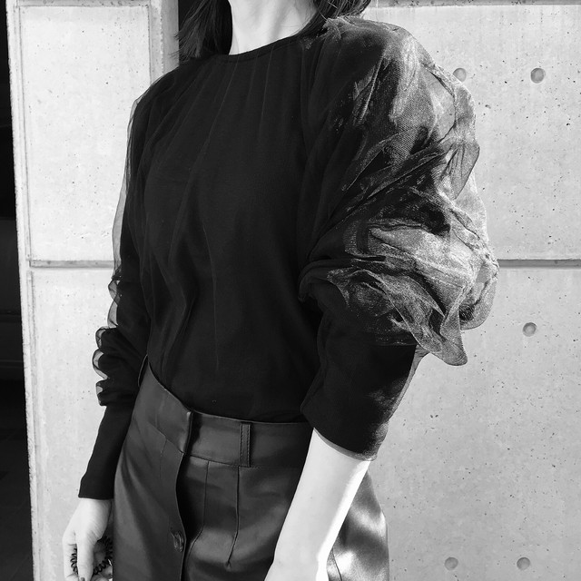 【WOMENS - 1 size】LAYERED TULE TOP / Black