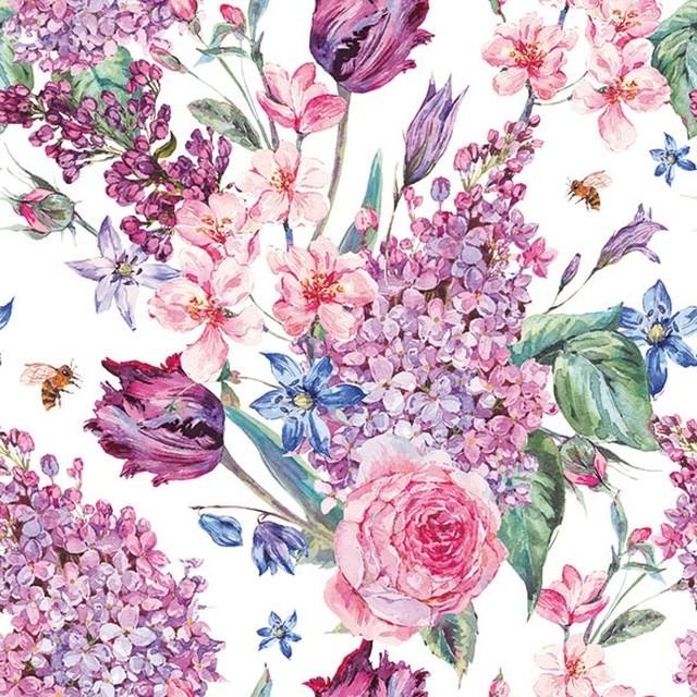 完売再入荷【Ambiente】バラ売り2枚 ランチサイズ ペーパーナプキン FLOWER COMPOSITION ホワイト