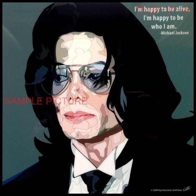 【51*51cm 特大サイズ】 カリスマグラフィックアートパネル マイケル・ジャクソン 木製 壁掛け ポスター (004-059)
