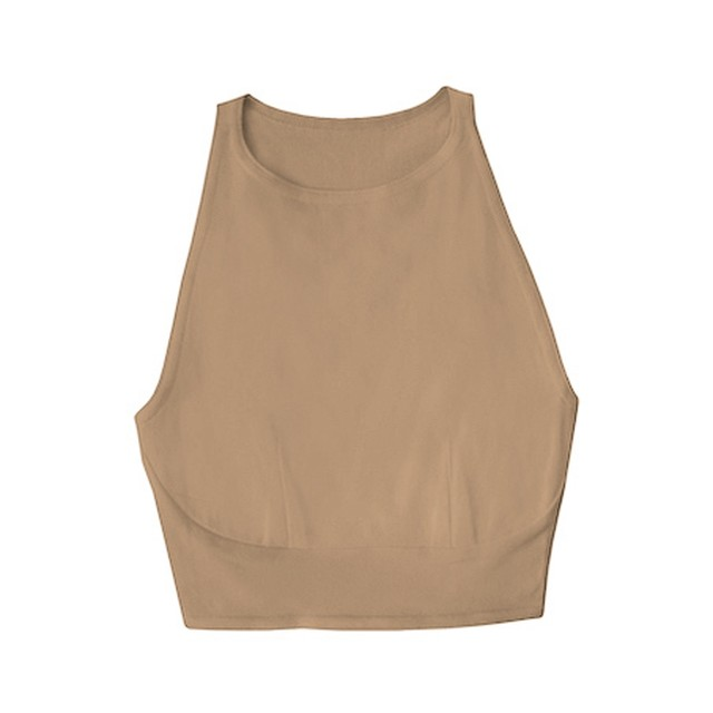 hi-neck croptop (tan)