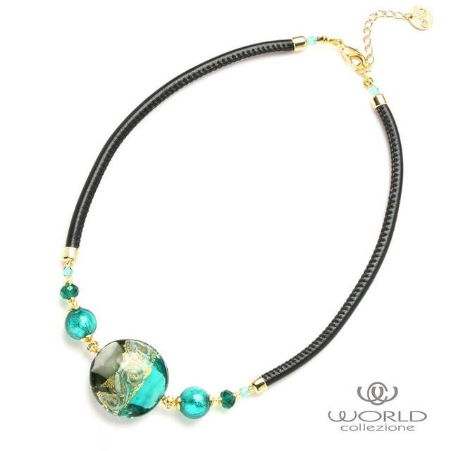 【送料無料】【worcolle】ベネチアンガラスの丸型パーツネックレス(No.131141)