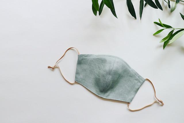 【夏マスクに!】リネンのカラーマスク(リバーシブル) クスミント × ベージュ(生成) 1枚 【Mサイズ 女性用】