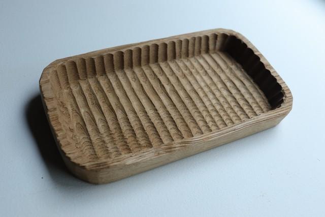 小ぶりの我谷盆(わがたぼん)へぎ板作品230×150×29~34