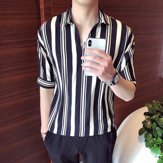 Yシャツ メンズ 半袖 インナー ワイシャツ トップス アメカジ カットソー シンプtps-1905