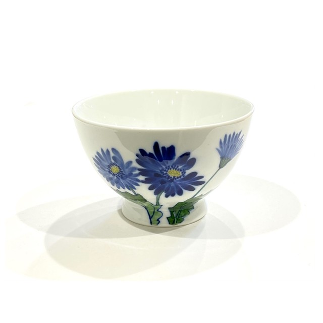 ガーベラ ブルー 茶碗 中