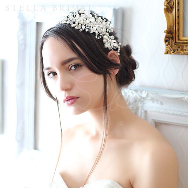 【受注生産品】スワロ使用 フローラルチャームの小枝ヘッドドレス ワルツ |ウェディングヘアアクセサリー