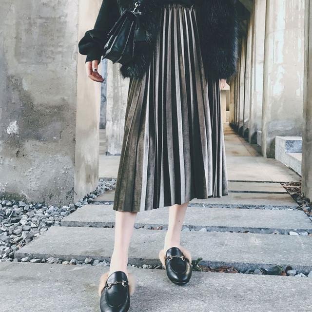メタリック ベロア スカート 膝丈スカート 3色 LNSK090604J