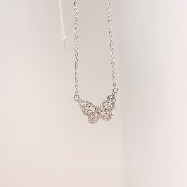 【ラスト1点送料無料】【即納】butterfly necklace(Silver)
