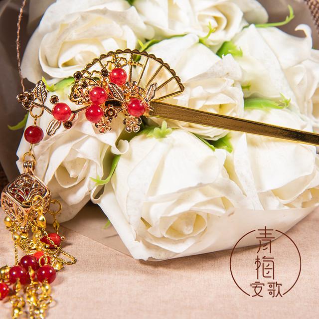 【青梅安歌シリーズ】★髪飾り 簪★ アクセサリー プレゼント 成人式 花火大会 お祭り 扇子 赤 レッド