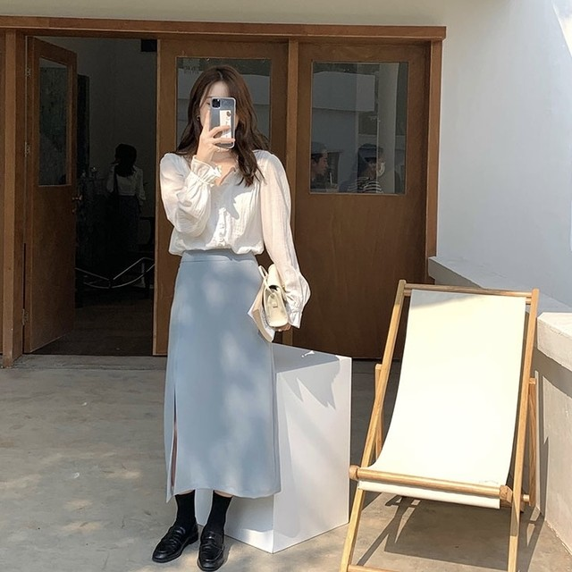 Aライン ロング スカート スリット デザイン 4色 B6189