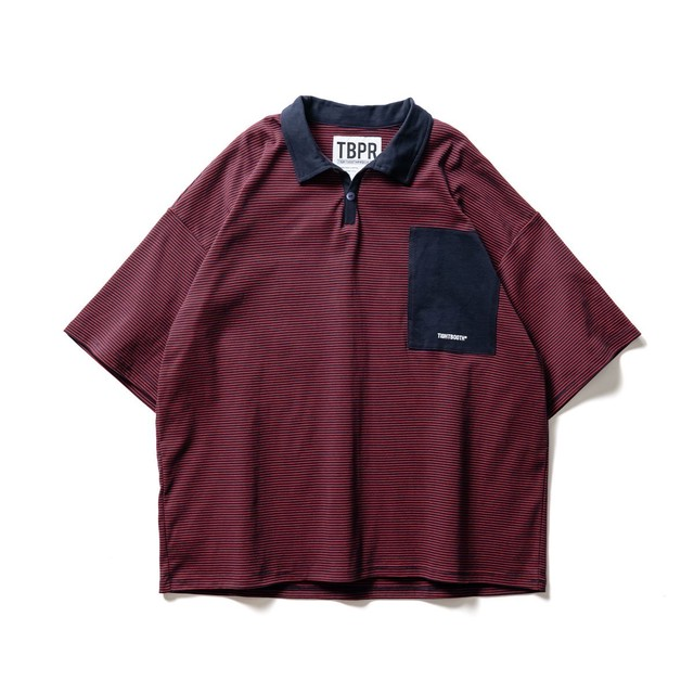 TIGHTBOOTH STRIPE POLO SHIRT NAVY × RED