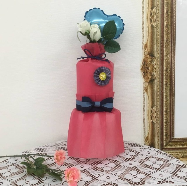 オーガニックおむつケーキ ・SSサイズ・Sサイズ・レッド ・Kfj's dress wrapping gift R&3M
