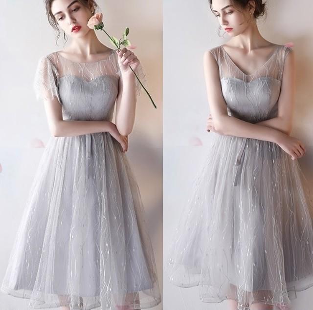 SALE 即納 2design グレー リボンマーク シンプル パーティ―ドレス
