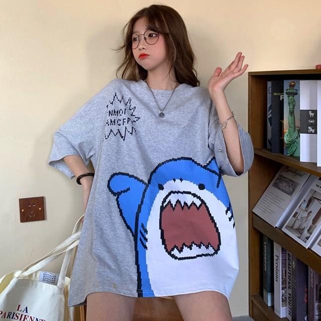 【トップス】半袖キュートサメ図柄カジュアルファッションTシャツ51064763