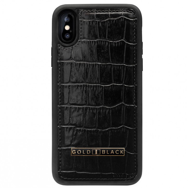 [12]ゴールドブラック(GOLDBLACK) iPHONE XR CASE CROCO BLACK 19110