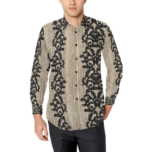 家紋装飾×バロック装飾 メンズサイズ長袖シャツ