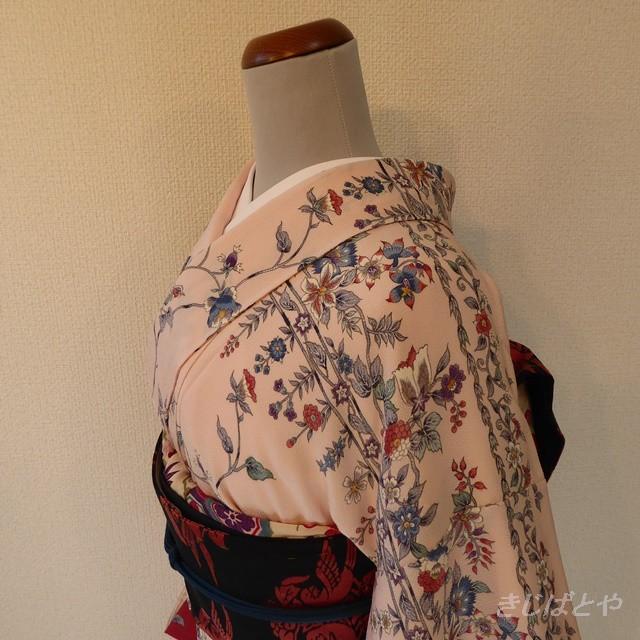正絹紬 桜鼠色に秋の草花 単衣の着物