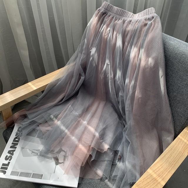 グラデーションカラー メッシュレース スカート チュールスカート 透け感 ミモレ丈 ウエストゴム フェアリー かわいい ガーリー お出かけ デート 春 TP2438