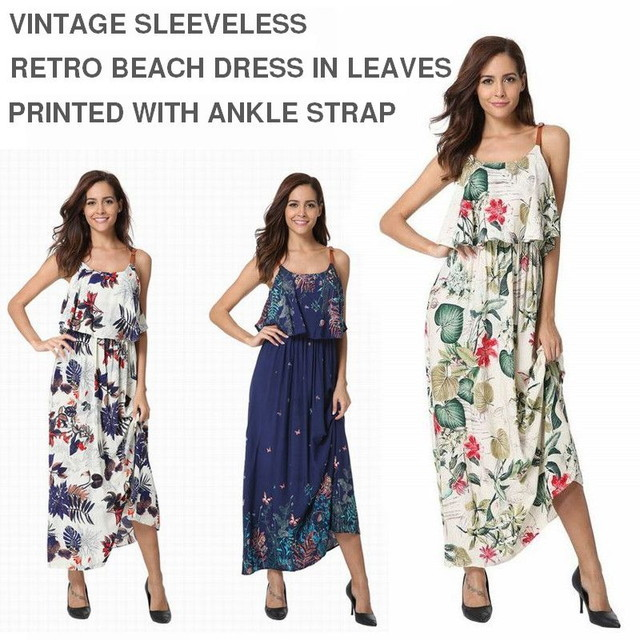 VINTAGE SLEEVELESS RETRO BEACH DRESS IN LEAVES PRINTED WITH ANKLE STRAP / リトワール・ビーチ・ドレス (SKU : 18WD108)